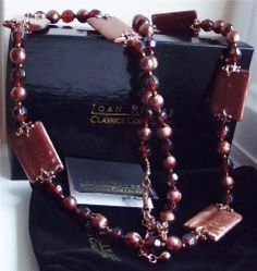 JOAN RIVERS SIGNED COPPER TONE MULTI CUT BEAD NECKLACE WITH COPPER CLASP NEW QVC