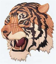 Tiger Head Intarsia Plan This mighty Tiger is saying you're entering his domain so tread lightly! A great piece for the wildlife enthusiast. Perfect for your trophy room or den! Tiger Intarsia Specifi