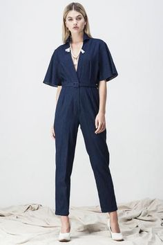 4cf283a0323f DENIM FLARE BACK JUMPSUIT. Shakuhachi