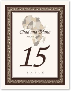 Map of Africa African Wedding Table Numbers