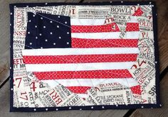 Trillium Design: 4th July Flag Map Mug Rug Pattern How cool would this be enlarged to be a throw or wall hanging