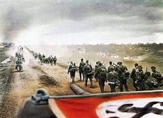 Stock Photo - OPERATION BARBAROSSA German infantry advance into Russia in Swastika serves as identifiction to their covering aircraft German Soldiers Ww2, German Army, Guerra Anime, Colorized History, Heroes And Generals, Operation Barbarossa, Germany Ww2, Military Pictures, War Photography