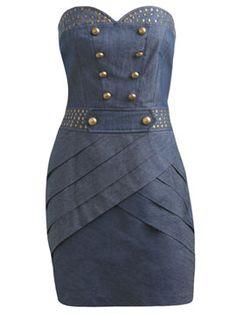 Fitted Strapless Denim Dress