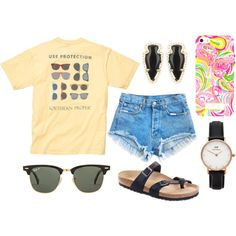 feeling like summer :) by okieprep on Polyvore featuring Birkenstock, Daniel Wellington, Kendra Scott, Ray-Ban, Summer, preppy and kendrascott