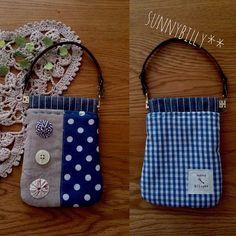 【送料無料】④ばね口ポーチ(持ち手)水玉×ギンガム・ヨーヨー Kids Purse, Textiles, Handmade Bags, Diy Art, Purses And Bags, Craft Projects, Lunch Box, Scrap, Wallet