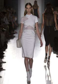 Victoria Beckham | Dresses | #211 White mircrobush/graphic lace collar cap fitted dress