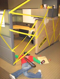 Happy Halloween! We had a #cubicle decorating contest at the office! Crime scene & 10 Halloween Decorating Ideas for Your Office Cubicle | Office ...