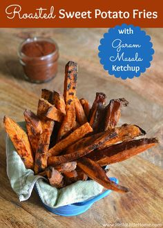 You are going to love this crispy Roasted Sweet Potato Fries! They're served with a delicious Garam Masala Ketchup and are the perfect veggie burger accompaniment!