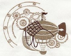 Airship and Gears Steampunk Embroidered Flour Sack Hand/Dish Towel