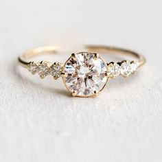 New 1ct diamond Cadence ring available in 14k yellow white or rose gold  At melaniecasey.com