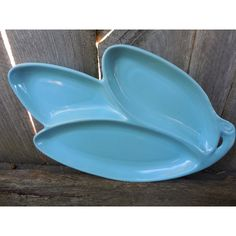 Cameron Clay Co USA Pottery Pale Blue Divided Dish Home Decor ($28) ❤ liked on Polyvore featuring home, home decor and light blue home decor