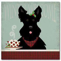 Trademark Art Trademark Fine Art Scottie Winter Welcome Canvas Art by Stephanie Marrott Artist Canvas, Canvas Art, Cute Dogs Breeds, Westies, Beautiful Dogs, Dog Art, Tartan Plaid, Puppies, Fine Art