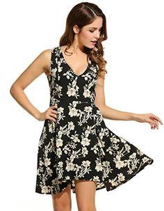 45c8eeb4422c Halife Womens Summer Floral Sundresses Sleeveless V-neck Fit and Flare Dress  at Amazon Women s