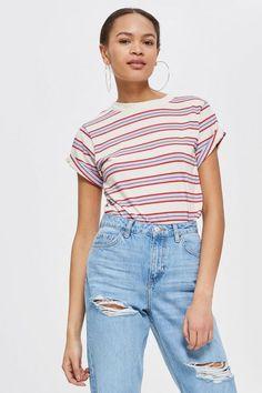 T-shirt rayé avec manches à revers Manches, Jeans De Grande Hauteur, Imprimé 426b2943f2ab