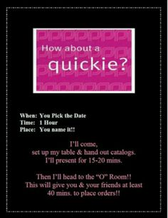Wanna have a pure romance party and youre in the panama city area, shoot me an.email and ill.give you all the details. If your.not in the area please go to www.pureromance.com click shop.online, then shop with consultant, then FL then AMY then AMY HELMS