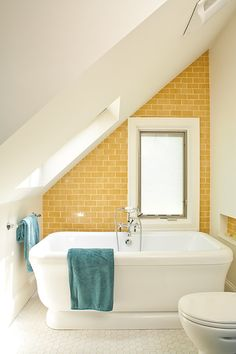 Yellow and Turquoise Bathroom eclectic bathroom -- this yellow tile is charming Small Attic Bathroom, Eclectic Bathroom, Upstairs Bathrooms, Master Bathrooms, Loft Bathroom, Skylight Bathroom, Bathroom Interior, Luxury Bathrooms, Bathroom Mirrors