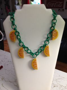 Bakelite orange slice necklace