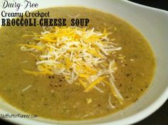 Dairy Free Creamy Crockpot Broccoli Cheese Soup
