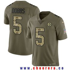 ac00cf28843 Men's Pittsburgh Steelers #5 Joshua Dobbs Olive with Camo 2017 Salute To  Service Stitched NFL