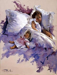 beautiful painting of girl in bed, lovely shades of purple