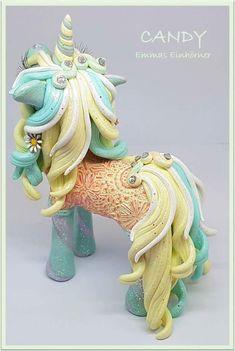 Polymer Clay Unicorn, horse, pony, filly https://www.facebook.com/EmmasWerkstatt/