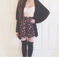 Black cardigan with white top floral skirt and knee high socks ♡