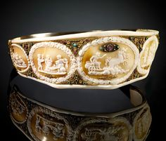 Empress Joséphine's Shell Cameo Tiara, France (ca. 1804-1810; shell cameos, mother-of-pearl, pearls, ivory, rubies, sapphires, gold, silver).