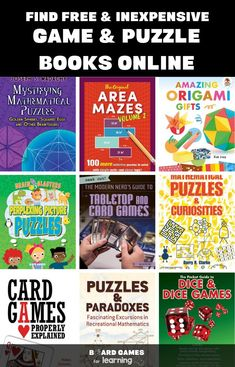 Why are games expensive? Here are the best puzzle + activity books Puzzle Games For Kids, Outdoor Games For Kids, Math For Kids, Puzzles For Kids, Classic Board Games, Board Games For Kids, Activity Books, Book Activities, Buy Used Books