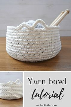 Easy diy tutorial for a yarn bowl using everyday items that we all carry in our homes. Easy diy tutorial for a yarn bowl using everyday items that we all carry in our homes. Crochet Bowl, Crochet Shell Stitch, Crochet Basket Pattern, Crochet Yarn, Easy Crochet, Crochet Baskets, Knitting Yarn, Doilies Crochet, Chrochet