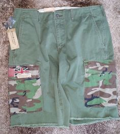 Ralph Lauren Denim & Supply Army Green Cargo Shorts Mens w/ CAMO Pockets NWT NEW #RalphLaurenDenimSupply #Cargo