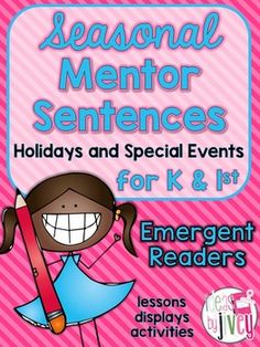 Mentor sentences model writing through excellent sentences from your favorite read-aloud books! This unit is just what you need to continue mentor sentences in your Kindergarten or First Grade classroom. I created these with emergent readers of K & 1 in mind, but they would also be appropriate for ELL students!Watch a video of mentor sentences in action in a Kindergarten ELL classroom!Not sure if you should get the Early Emergent or Emergent Mentor Sentences?