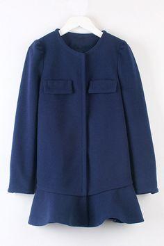 Sweet Flounce Trimmed Woolen Coat OASAP.com
