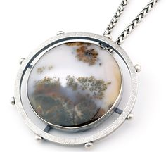 Inspirational Dendrite Agate Statement Necklace Limited Edition Silver