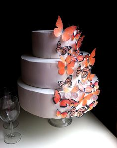 Defiantly getting these for our cake :) ~  Edible Butterfly Cake Decoration  Assorted Orange  by SugarRobot, $24.95
