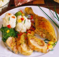 Lajos Mari konyhája - Juhtúrós töltött csirkecomb Cauliflower, Paleo, Food And Drink, Meals, Dishes, Chicken, Vegetables, Cooking, Kitchen
