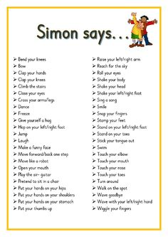 Simon says. Printable ideas for playing Simon Says. Great for Brain Breaks Preschool Songs, Preschool Learning, Kids Songs, Learning Activities, Baby Activities, Physical Activities For Kids, Circle Time Activities, Songs For Preschoolers, Circle Time Ideas For Preschool