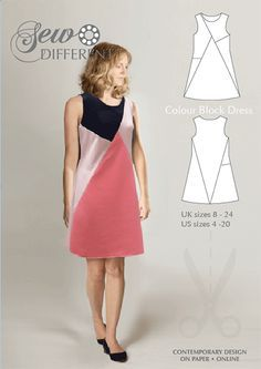 Colourblock dress sewing pattern for women. Multi size pattern on paper or to download. Read the blog post for ideas and inspiration. Happy sewing!