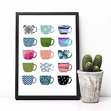 Etsy :: Your place to buy and sell all things handmade Coffee Cup Art, Espresso Coffee, Printable Art, Coffee Printable, Printables, Kitchen Wall Art, Kitchen Decor, Latte Art, Free Prints