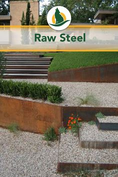 Raw steel is a popular choice for landscaping that requires a more natural look, lie these metal retaining walls with a natural oxidized patina and filled with gravel. See more at bigredsunaustin.com