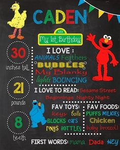 Birthday Chalkboard Poster Sign • Sesame Street Theme • Free economy shipping • Fast turnaround time • Great customer service • These birthday boards are custom, high resolution digital files that are personalized for each customer upon order