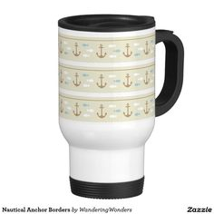 Nautical Anchor Borders Travel Mugs