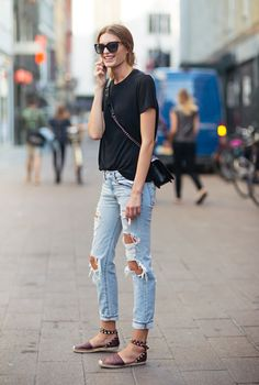 Destroyed denim + basic tees: http://www.stylemepretty.com/living/2016/05/16/how-to-get-the-off-duty-model-look/