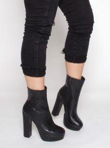 7aaffeba141c1 Jameela Black Croc Platform Ankle Boots | Shoes | Boots, Platform ...