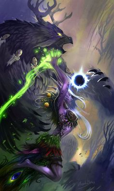 World of Warcraft - Night Elf - Druida World Of Warcraft Druid, Art Warcraft, World Of Warcraft Characters, Fantasy Characters, Warcraft Legion, Druida Wow, Pandaren Monk, Elf Druid, Dragons