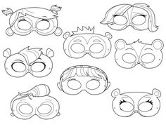 Littlest Pet Shop Inspired Printable Black and White Line Art Masks