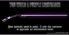 Each lightsaber color represents its owners strength, desires, and alignment. Take this quiz to find out which color yours would be! Lightsaber Colors, Purple Lightsaber, Jedi Lightsaber, Mace Windu, Star Wars Light Saber, Star Wars Merchandise, Jedi Knight, Star Wars Episodes, Star Wars Art