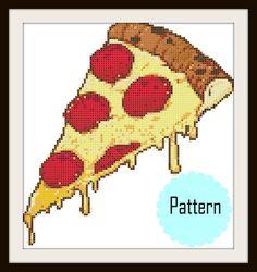 Modern Cross Stitch Pattern PDF Chart  Pizza by StephanieXStitches