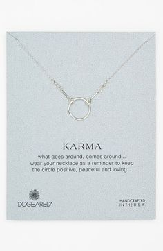 Free shipping and returns on Dogeared 'Reminder - Karma' Pendant Necklace at Nordstrom.com. A handcrafted vermeil chain clings to a continuous, hammered pendant with mottled shine and cosmic symbolism.