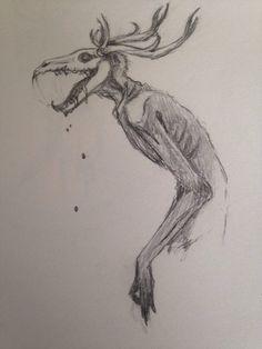 Wendigo by LazarusFrankenstein on DeviantArt Demon Drawings, Creepy Drawings, Dark Art Drawings, Creature Drawings, Art Drawings Sketches, Cool Drawings, Monster Drawing, Monster Art, Monster Sketch