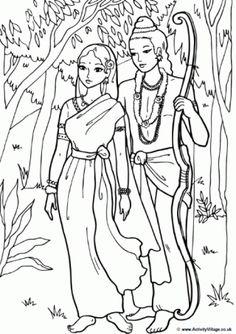 Rama and Sita Colouring Page